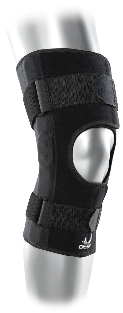 Hinged Knee Brace - Compression Knee Skin with Hinge for ACL, MCL, Meniscus and General Knee Pain - Front Closure - By BioSkin