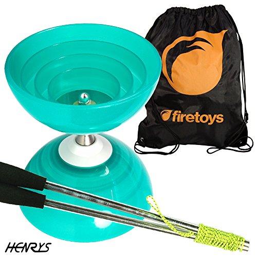 Henry's Beach Free-Hub Bearing Diabolo with Aluminium Diablo Sticks & Firetoys Bag (Turquoise)
