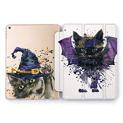 Wonder Wild Halloween Cat Apple iPad Pro Case 9.7 11 inch Mini 1 2 3 4 Air 2 10.5 12.9 2018 2017 Design 5th 6th Gen Clear Smart Hard Cover Cute Purple Kitten Bat Dracula Witch Hat Salem Black Drops