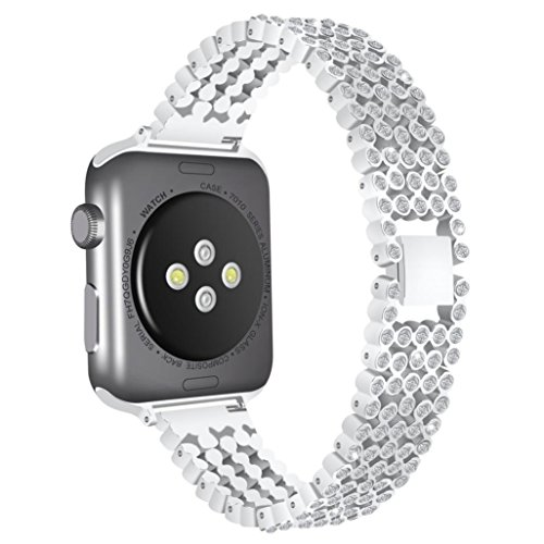 Blueseao Apple Watch Band Series 3, Women/Men Handmade Milanese Stainless Steel Magnetic Replacement Strap For iWatch Series 1/2/3 Compatible iWatch Band 1st Generation (Crystal C, 42 MM)