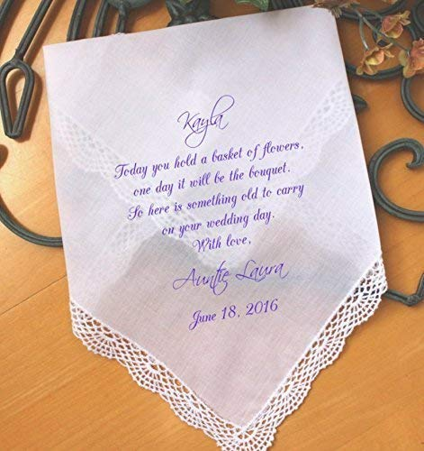 Wedding handkerchief for Flower Girl, Flower Girl Gift, wedding gift, Today you hold a BASKET of FLOWERS, PRINTED Hankie, hanky, LS5FCAC by Snugahug[93]