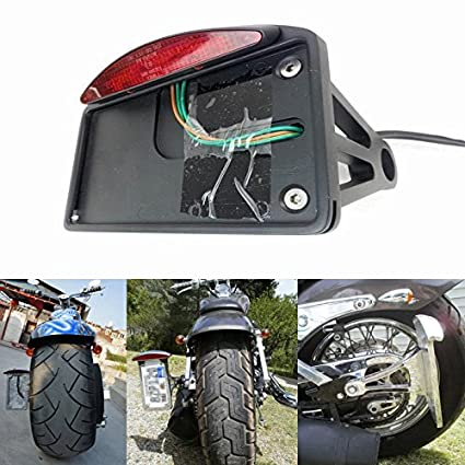 Lateral para Moto Motocicleta Color Negro Aluminio LED License Plate Frame Bracket Holder Cola Parada luz