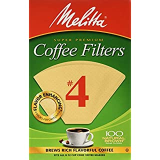 Melitta 624602#4 8 To 12 Cup Natural Brown Cone Coffee Filters 100 Count