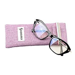 SOOLALA Womens Quality Fashion Alloy Arms Cateye Customized Reading Glasses (Black, 0.75)