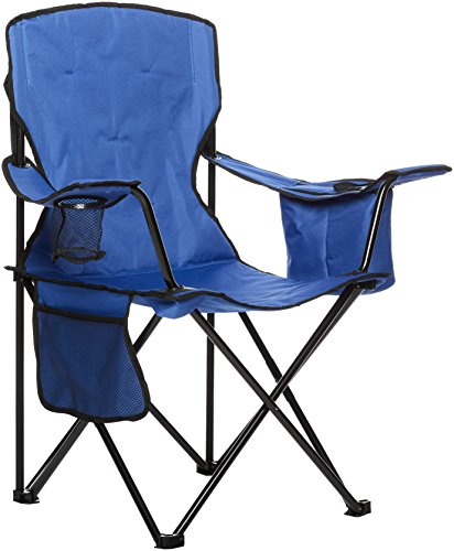 AmazonBasics Padded Folding Outdoor Camping Chair with Bag - 34 x 20 x 36 Inches, Blue (Folding Camp Chair)