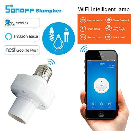 KOBWA Smart Wifi - Casquillo E27 con adaptador de foco LED para lámpara inalámbrica, funciona con Alexa y Google Home...