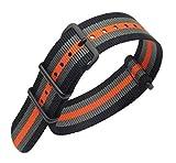 22mm Black/Grey/Orange Deluxe Premium Nato Style Sturdy Exotic Nylon Sport Men's Wrist Watch Band Strap
