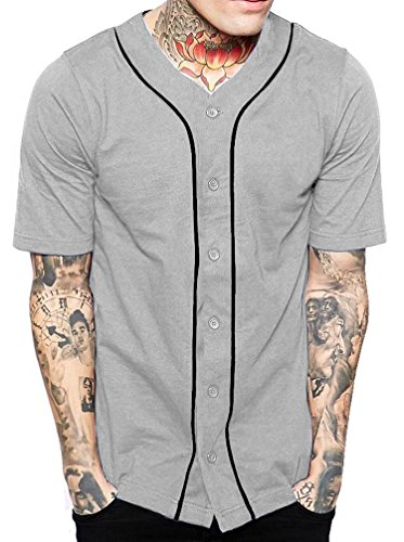 Hat and Beyond Mens Baseball Button Down Jersey Hipster Hip Hop T Shirts 1UPA01 02 (3X-Large, Grey/Black)