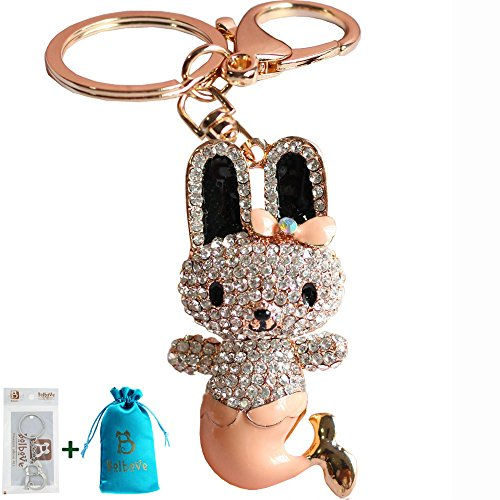 Bolbove Cute Bowtie Rabbit Mermaid Keychain Crystal Sparkling Keyring Rhinestones Purse Pendant Handbag Charm (Champagne)]()