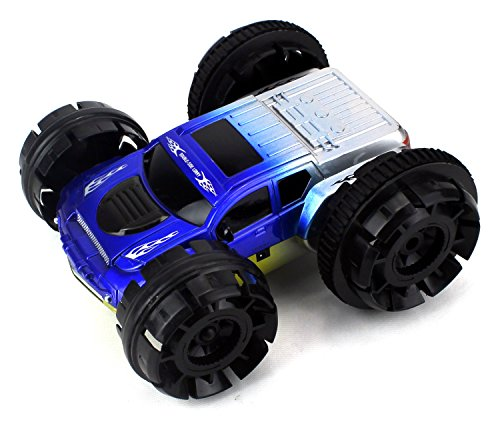 Double Sided Stunt Racer Remote Control RC Car Rechargeable w/ 360 Degree Spinning Action, Flashing Lights (Colors May Vary)