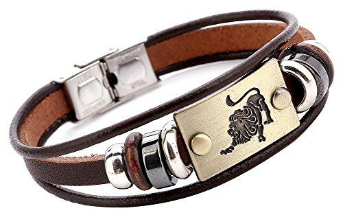 (Hamoery Men Punk Beaded Alloy Multilayer Braided Rope Constellation Leather Cuff Bracelet Bangle Wristband(Leo))