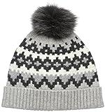 Sofia Cashmere Women's 100% Cashmere Graphic Fairisle Hat with Fox Fur Pom, Grey Combo, One