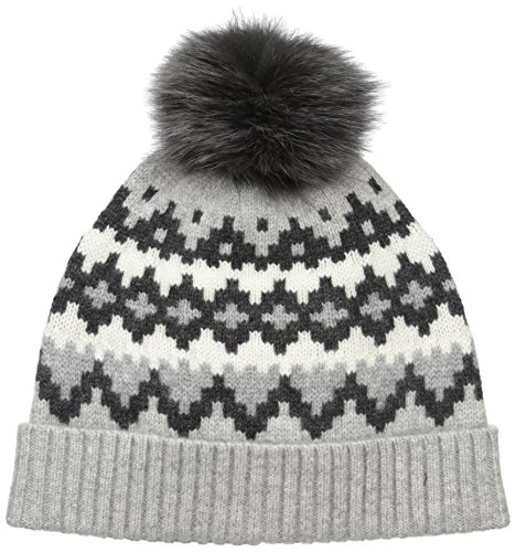 Sofia Cashmere Women's 100% Cashmere Graphic Fairisle Hat with Fox Fur Pom, Grey Combo, One by Sofia Cashmere