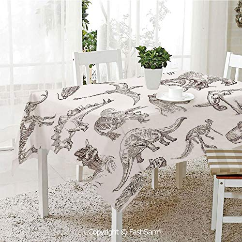 AmaUncle Party Decorations Tablecloth Collection of Various Dinosaurs Illustrations Gigantic Skeleton Biology Historic Kitchen Rectangular Table Cover (W60 xL104)
