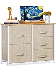 Fabric Dresser with 5 Drawers, Vertical Wide Dresser Storage Tower, Organizer Unit with Wood Top and Easy Pull Handle for Closets, Living Room, Nursery Room, Hallway by Pipishell
