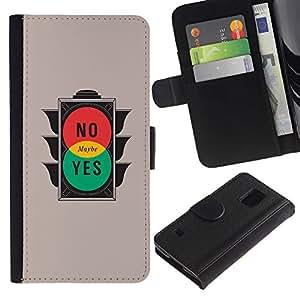 YiPhone /// Tirón de la caja Cartera de cuero con ranuras para tarjetas - Semáforo - Samsung Galaxy S5 V SM-G900