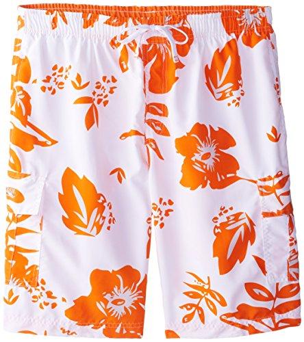 U.S. Polo Assn. Men's Metallic Flower Board Shorts, Summer Orange, 3X