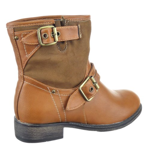 Kickly - Chaussure Mode Bottine Botte Cavalier - Western - Cowboy montante femmes Talon bloc 3 CM - Intérieur textile - Camel