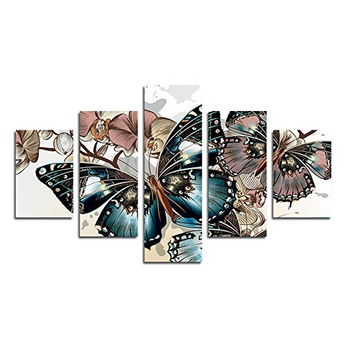 SwmArt 5 Piece Abstract Floral Print Butterfly Oil Painting on canvas room decor printing the image Canvas Print (no frame) Swm158 50 inch x30 inch