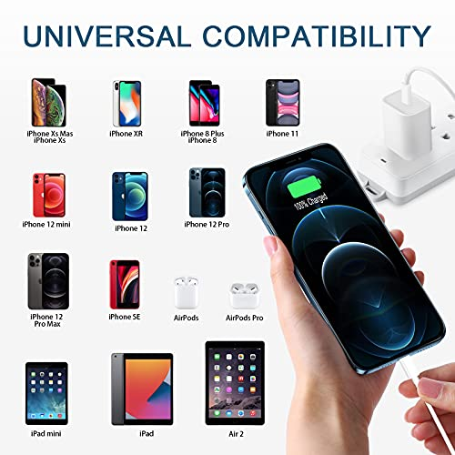 iPhone Fast Charger, 【Apple MFi Certified】2-Pack 20W USB C Fast Charger with 6FT USB C to Lightning Cable Compatible iPhone 12/12 Pro/12 Pro Max/12 Mini/11/11 Pro Max/Xs Max, iPad, AirPods Pro