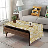 Large African Drum Coffee Table Linen Blend Tablecloth,Side pocket design,Rectangular Coffee Table Pad,Yellow Chevron,Hand Drawn Tribal Aztec African Pattern Ethnic Motif with Dashed Lines Decorative,Mustard White,for Home Decor