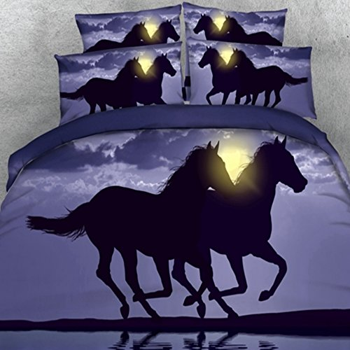 Alicemall Horse Bedding Two Running Horses Digital Printing Purple Bedding 4-Piece Duvet Cover Set, Twin/ Full/ Queen/ King US Size (Twin, (Horse Comforter)