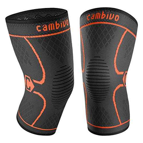 CAMBIVO 2 Pack Knee Brace, Knee Compression Sleeve Support for Running, Arthritis, ACL, Meniscus Tear, Sports, Joint Pain Relief and Injury Recovery (Large, Black/Orange)