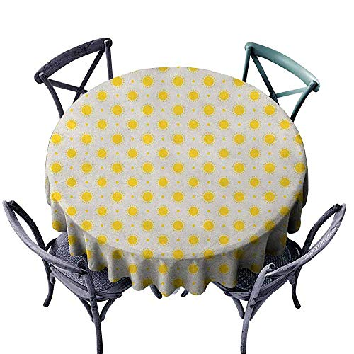 - Mannwarehouse Geometric Waterproof Tablecloth Sun Motif Colorful Polka Dots Summer Themed Heavenly Bodies Celestial Elements Great for Buffet Table D55 Yellow White