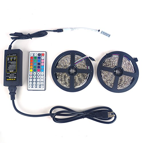 LTROP 2 Rolls 32.8ft LED Strip Lights Kit, None-waterproof Flexible SMD 5050 RGB 600 LED Light Strips with Mini 44 Key Remote and 12V 5V Power Adapter (Led Strip Lights Black compare prices)