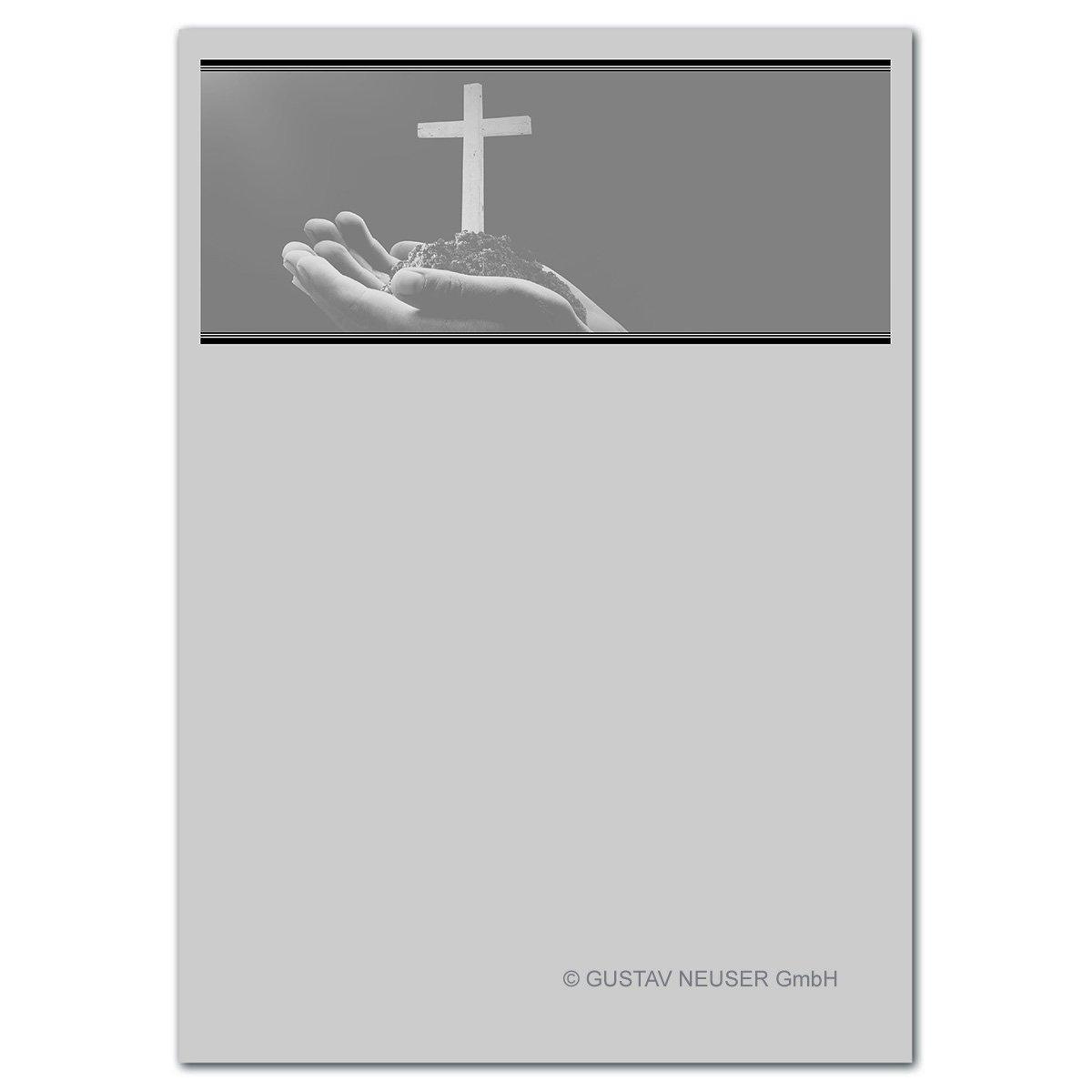 300 Stück Trauerpapier DIN A4 Trauer-Briefpapier    Serie  Heinrich - offene Hände mit Kreuz    22 x 11 cm    90 g m²    für Drucker geeignet  B07BFWHVFN   Deutschland Store