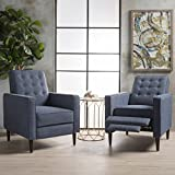 These mid-century, modern recliners are a wonderful addition to any room in your home. Featuring clean lines and a smooth finish, no one will even know that these chairs are recliners until you are putting your feet up after a long day. Compl...