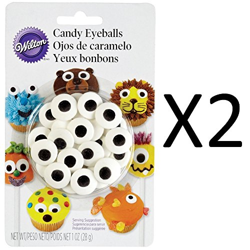 Wilton Large Edible Sugar Candy Eyeballs - Cookie Cupcake Decorations (2-Pack)