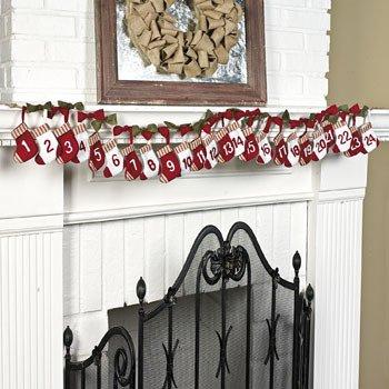 Cute Mini Stockings Christmas Countdown Garland -