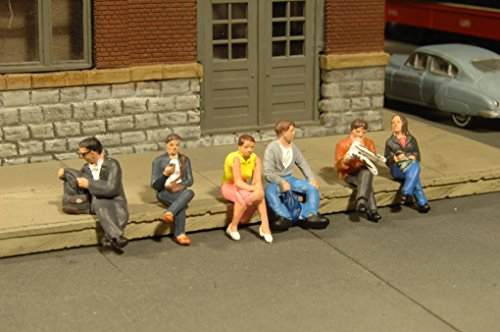 Bachmann Industries Miniature HO Scale Figures Seated Platform Passengers Train (6 Piece)