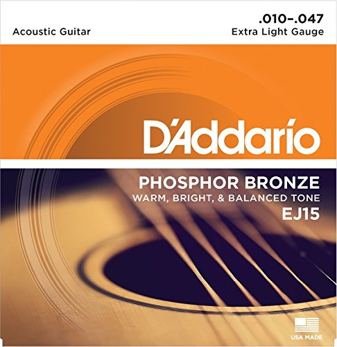 D'Addario Phosphor Bronze Acoustic Guitar Strings Extra Light .010-.047 EJ15
