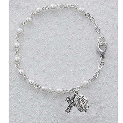 Girls 6 1/2 Irish Bracelet. 3mm Glass Beads Celtic Cross and Miraculous Medal Deluxe Gift Box Included. (Rosary Bracelet Irish)