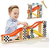 TOP BRIGHT Toddler Wooden Toys for 1 2 Year Old Boy Gifts Car Ramp Racer, Hammer Ball Pound and roll Tower Toy for 18 Month and up