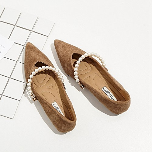 On Women Slip Insole Loafers Toe for Metal Khaki T Pointed Penny Casual Comfortable Shoes Buckle Suede JULY 1vfwcqpHB