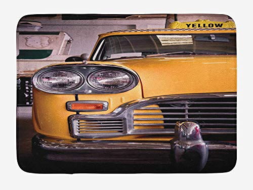 Weeosazg New York Bath Mat, Picture of Antique Yellow Taxi Historic Element of Old NYC Nostalgia Vintage Cab, Plush Bathroom Decor Mat with Non Slip Backing, 23.6 W X 15.7 - Antique Nyc