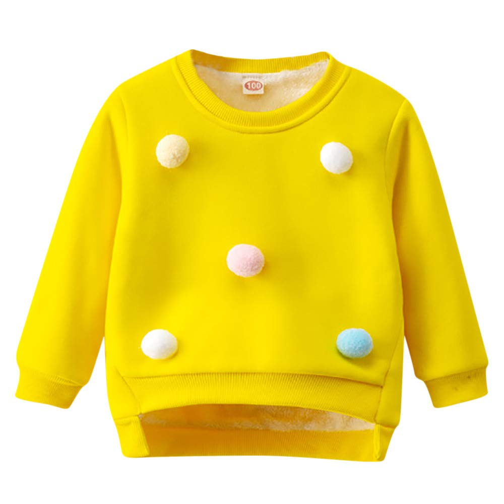 Selou Dicker Pullover des Babymädchens Rosa Sweatshirt Niedliches Balltop Warme Mode mit langen Ärmeln Kinder Pullover Sweatshirt Babykleid Hemd Plüsch Unterwäsche Hemd grundiert