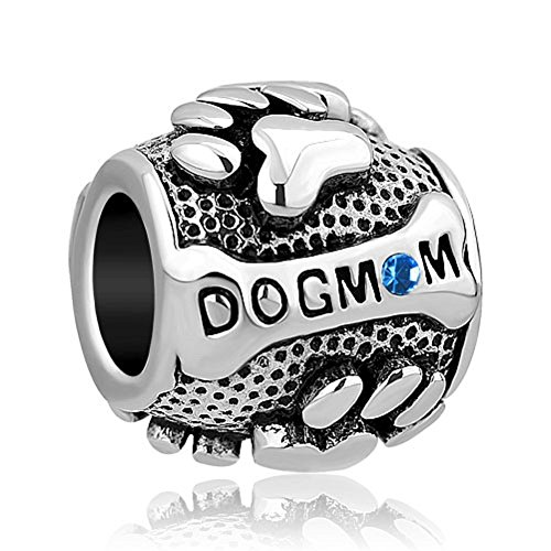 ReisJewelry Dog Mom Paw Print Charm Birthday Charms Bead For Bracelets (Sep (Blue Dog Beads)