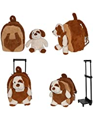 2-in-1 Kids Plush Rolling Suitcase/Backpack w/ Stuffed Animal: Puppy w/ Brown Bag