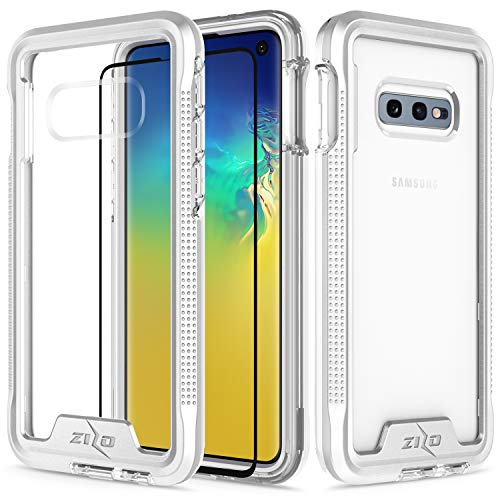 Zizo Ion Series Compatible with Samsung Galaxy S10e Case Military Grade Drop Tested with Tempered Glass Screen Protector Silver Clear