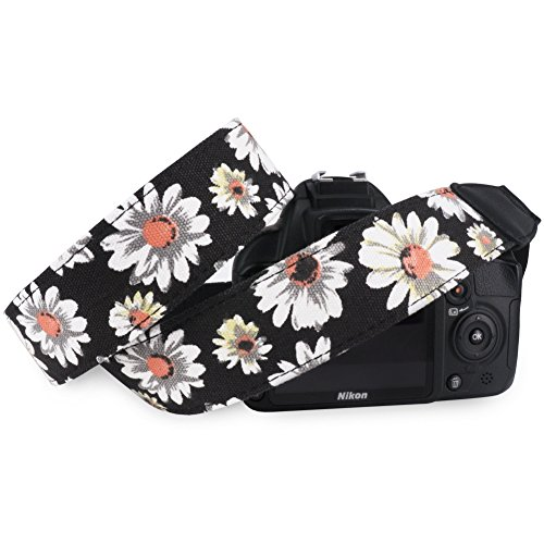 Pass Lanry Adjustable Camera Camcorder Neck Shoulder Strap Belt for SLR/DSLR/DC Digital Camera,Nikon,Sony,Canon,Pentax,Olympus Etc – Black Chrysanthemum