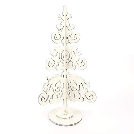 Albero Di Natale In Legno Shabby.Buystar Albero Di Natale In Legno Bianco Alberello Di Natale
