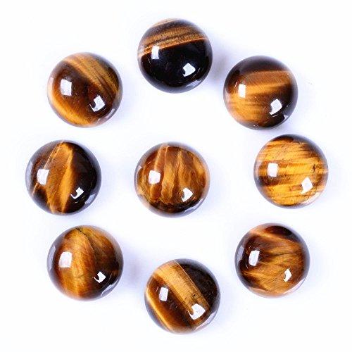 Wholesale 14mm Tiger eye round cabochon CAB flatback semi-precious gemstone 5pcs (Cabochon Tigers Eye)