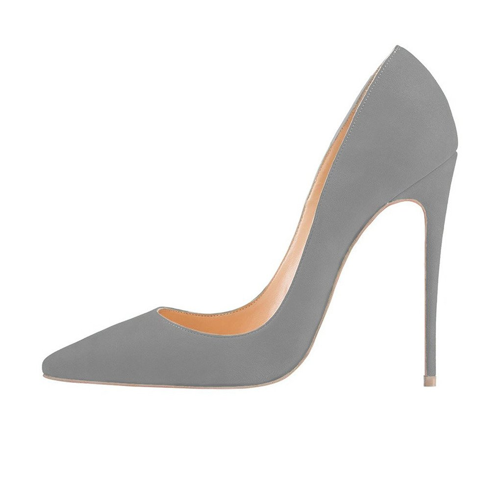FSJ Women Sexy Suede Pointed Toe Pumps 12 cm High Heels Stilettos Prom Shoes Size 4-15 US B01HB702DO 15 B(M) US|Grey