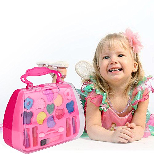 CapsA Kids Makeup Kit - Girl Pretend Play Makeup & My First Purse Toy for Toddler Gifts Including Pink Princess Lipstick Brush Makeup Set for Girls Party Game Birthday Best Gift (Pink) from CapsA-Toys