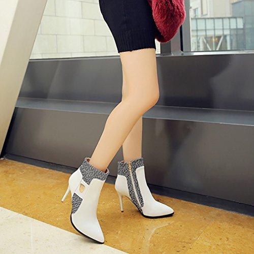 Éclair Vaneel Aiguille Chaussures Bottes 5CM 9 Blanc Fermeture vpn1 Femme YwqHIYr