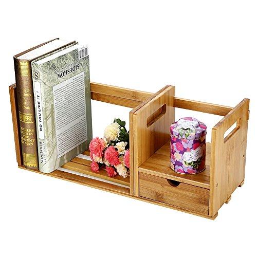 Organizer Desktop Purpose Multi Wood (Brown Expandable Wood Desktop Book Storage Organizer Multipurpose Desk Bookshelf with Drawer fit for Bedroom, Office, Dorm, Desk Hutch (#2))